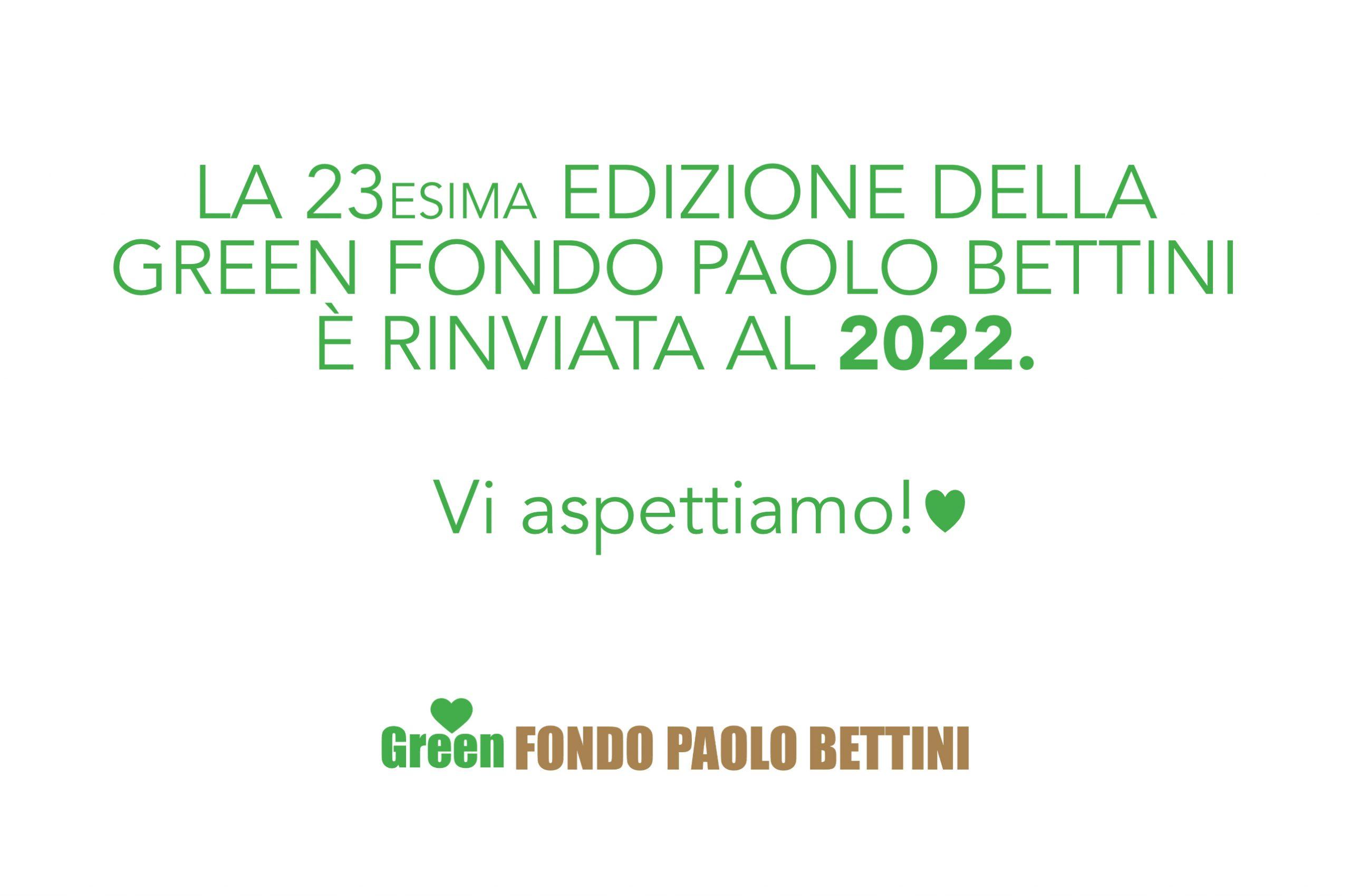 La Green Fondo Paolo Bettini rinviata al 2022.